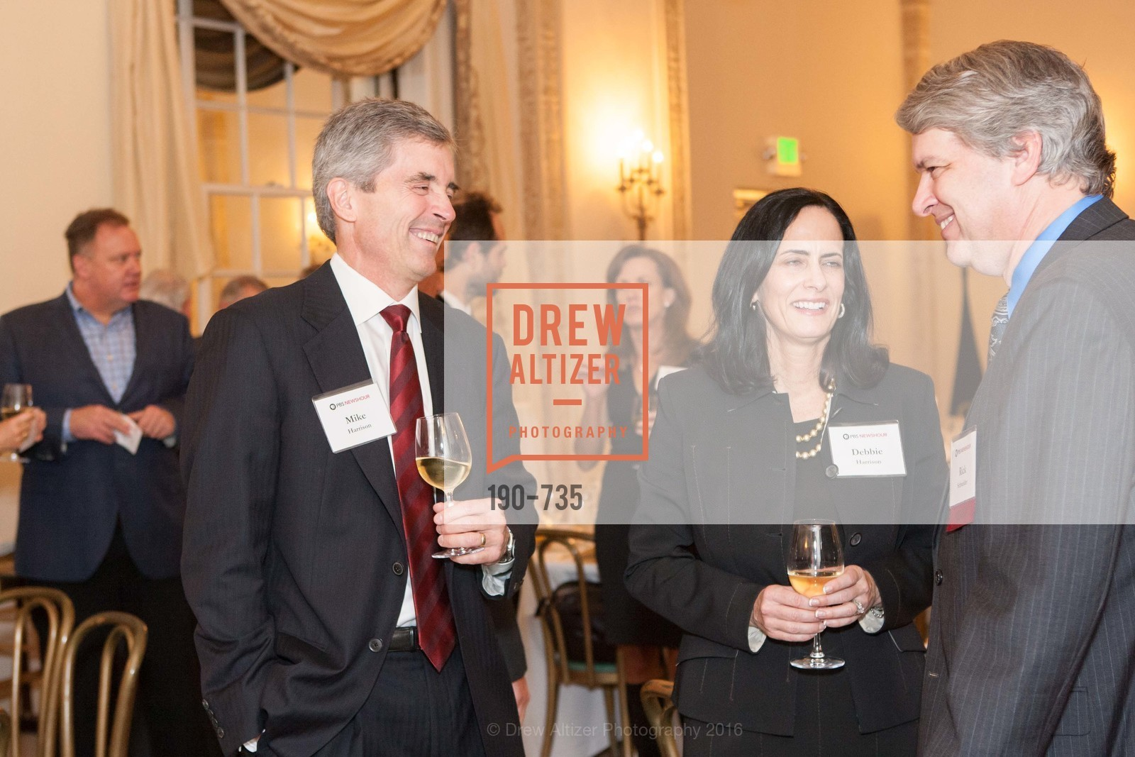 Mike Harrison, Debbie Harrison, Rich Schneider, A Night with the NewsHour, Metropolitan Club. 640 Sutter Street, January 21st, 2016,Drew Altizer, Drew Altizer Photography, full-service agency, private events, San Francisco photographer, photographer california