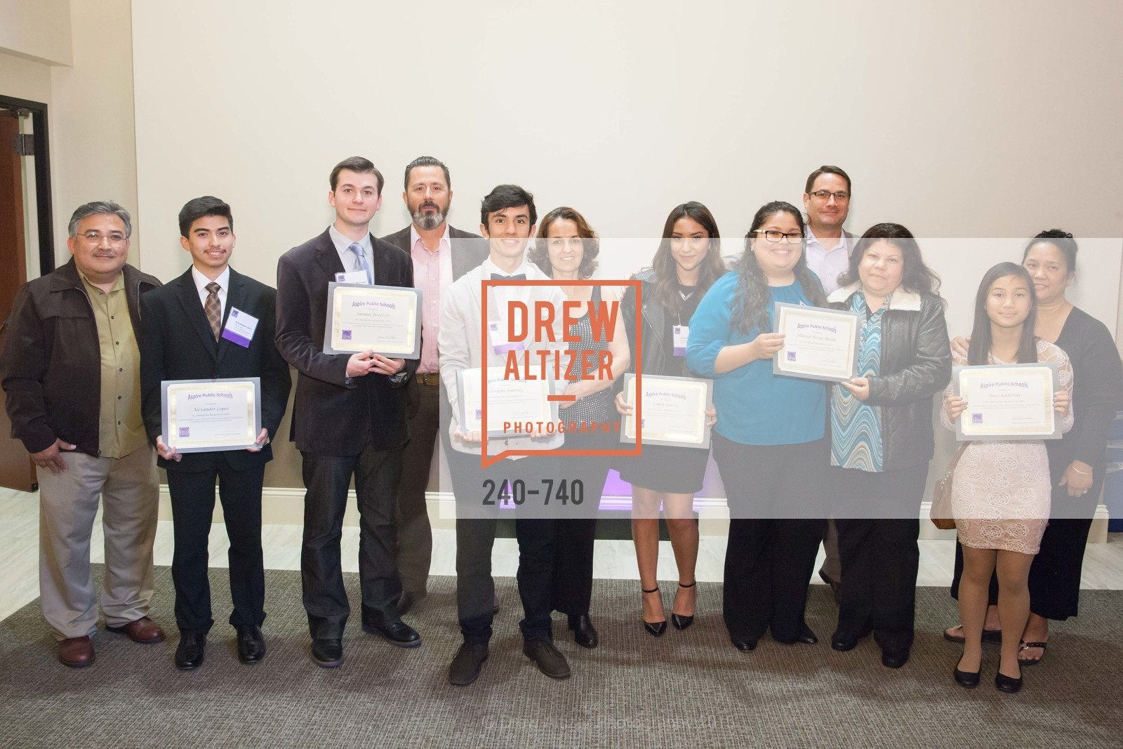 Alexander Lopez, Samuel Renfrow, Michael Renfrow, Cristian Jimenez, Laura Garcia, Marisol Perez Alcala, James Willcox, Marcela Alcala, Bree Saldevar, Aspire Annual College for Certain Dinne, US, May 21st, 2015