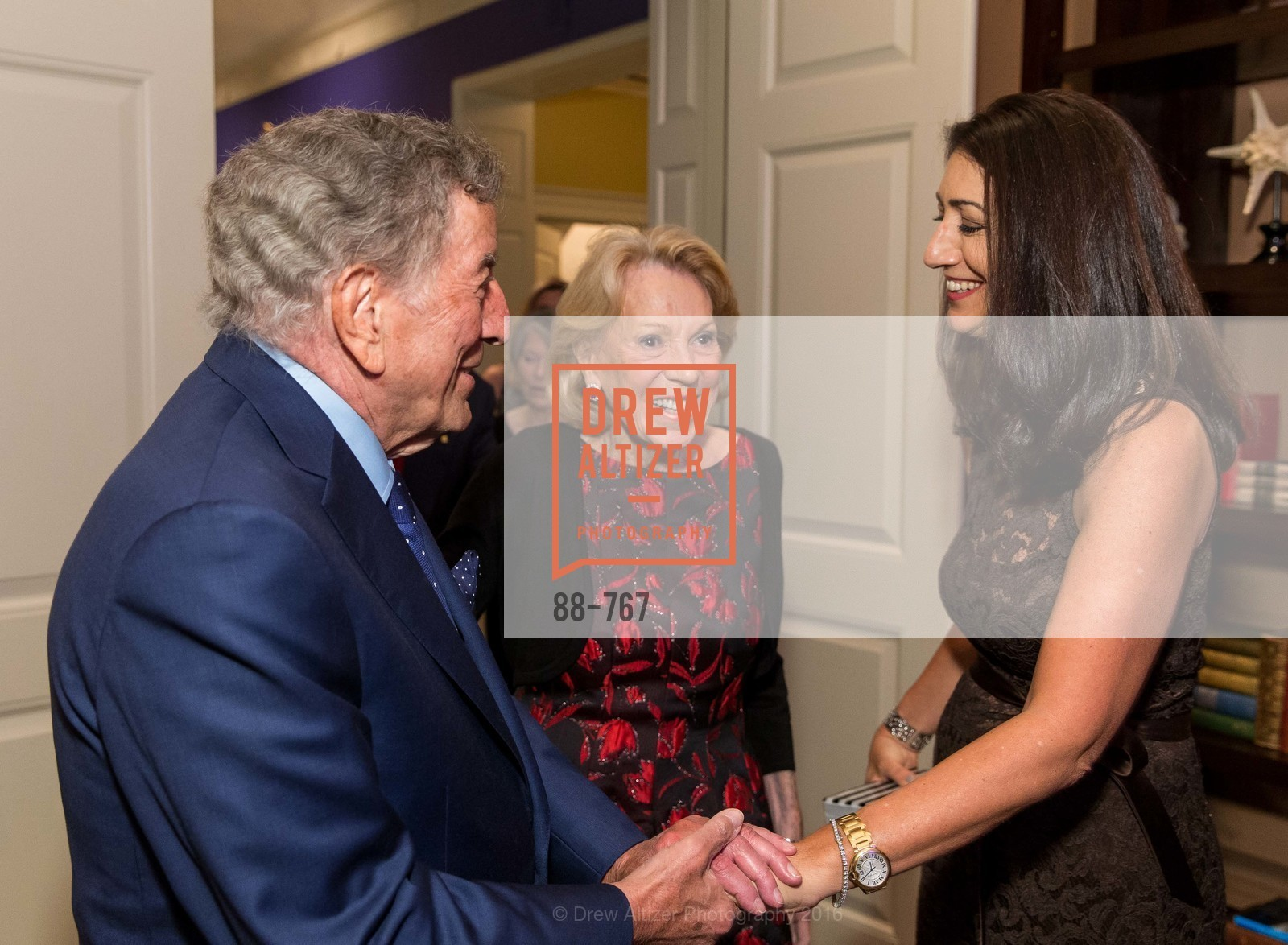 Tony Bennett, Charlotte Shultz, Pam Baer, A Special Reception with Tony Bennett, The Fairmont, San Francisco, The Penthouse Suite, January 26th, 2016,Drew Altizer, Drew Altizer Photography, full-service agency, private events, San Francisco photographer, photographer california