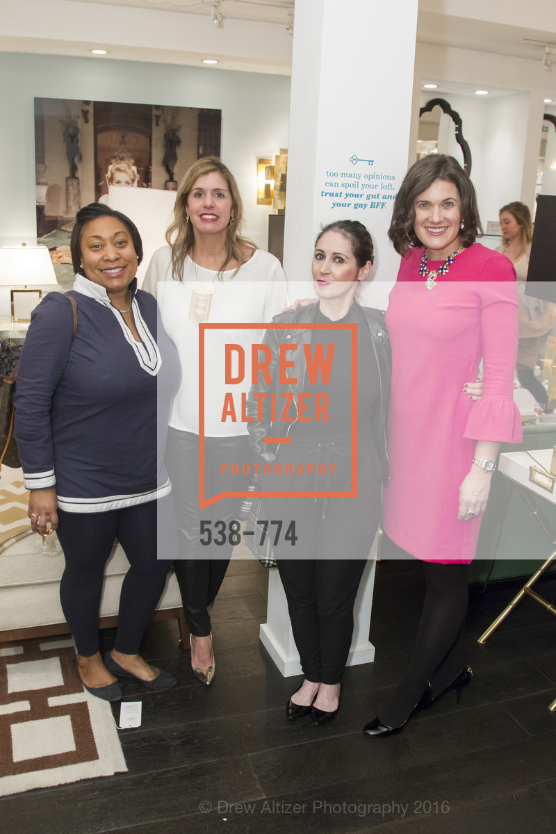 Gwyneth Borden, Julie Vance, Bebe Carmenito, Emily Martin, Jonathan Adler Sip & Shop with Cultivar Wine & The JetSetting Fashionista, Jonathan Adler Store. 2133 Fillmore Street SF, CA, January 28th, 2016