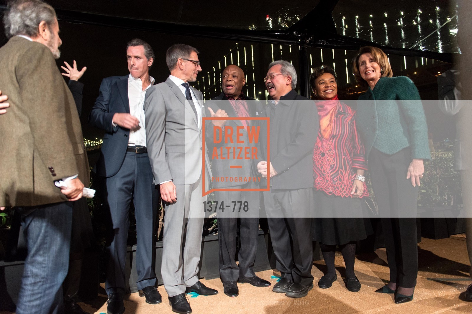 Gavin Newsom, Ben Davis, Willie Brown, Ed Lee, Barbara Lee, Nancy Pelosi, The Bay Lights Grand Relighting Celebration, Epic Steakhouse. 369 The Embarcadero, January 29th, 2016,Drew Altizer, Drew Altizer Photography, full-service event agency, private events, San Francisco photographer, photographer California
