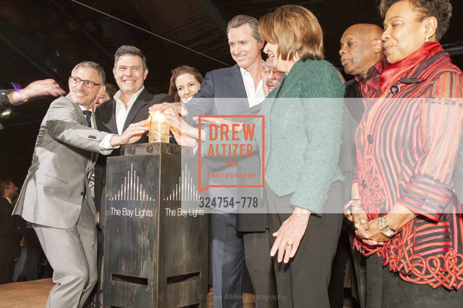 Ben Davis, Leo Villareal, Gavin Newsom, Nancy Pelosi, Willie Brown, Barbara Lee, The Bay Lights Grand Relighting Celebration, Epic Steakhouse. 369 The Embarcadero, January 29th, 2016,Drew Altizer, Drew Altizer Photography, full-service agency, private events, San Francisco photographer, photographer california