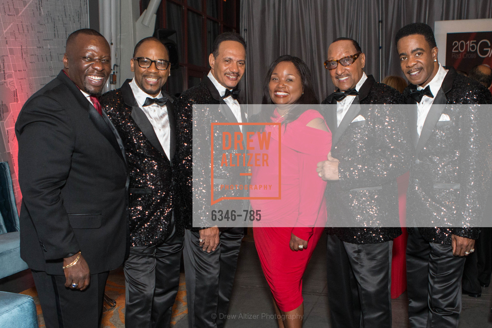 Keith White, Lawrence Payton, Ronnie McNair, Rose White, Duke Fakir, Spike Bonhart, 2015 RED CROSS Gala, US, April 11th, 2015,Drew Altizer, Drew Altizer Photography, full-service agency, private events, San Francisco photographer, photographer california